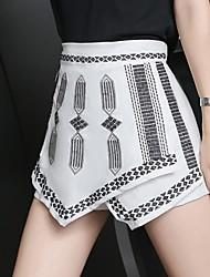 Pantalon Aux femmes Short Vintage Coton / Lin Non Elastique