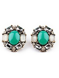 European Style Luxury Gem Geometric Earrrings Oval Stud Earrings for Women Fashion Jewelry Best Gift