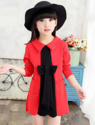 Girl's Casual/Daily Patchwork Dress,Cotton Spring / Fall Black / Red