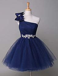 Cocktail Party Dress Ball Gown One Shoulder Short / Tulle withAppliques / Beading / Bow(s) / Sash /