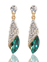 Full Of Diamond Emerald Heart Of Ocean Droplets Earrings Wedding Jewelry