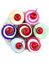 Swiss Roll Cake-shaped Hand Towel Fake Cake with 1 cheery Wedding Favors Kitchen Cleaning(Random Color)