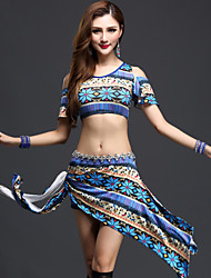 Belly Dance Outfits Women's Performance Spandex Pattern/Print 3 Pieces Blue / Orange / Red Belly Dance Short Sleeve