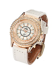 Women/Ladies's White Case PU Leather Band Fashion Watch with Crystal Case