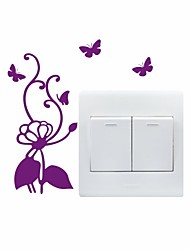 AYA™ DIY Wall Stickers Wall Decals, Butterflies & Flower Type PVC Switch Panel Stickers 14*15cm