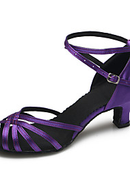 Women's Dance Shoes Satin Satin Latin / Modern Heels Stiletto Heel Practice / Indoor Purple