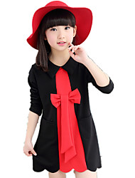 Girl's Doll Collar Patchwork Bow Long Sleeve A-line Dress