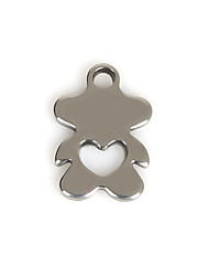 Beadia (50Pcs) 8x11mm Bear Shape Stainless Steel Charm Pendant For Necklace & Bracelet Jewelry Making