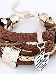 Coffee Wrap Leather Bracelet with Heart Pendant