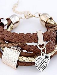 Bracelet Charmes pour Bracelets Bracelets Bracelets en cuir Cuir Forme de Coeur Amour Cœur Mode Inspiration Regalos de Navidad Bijoux