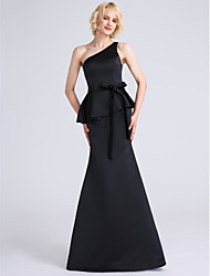 LAN TING BRIDE Floor-length One Shoulder Bridesmaid Dress - Little Black Dress Sleeveless Satin