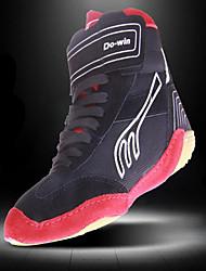 Sapatos Interior Masculino Preto e Vermelho Pele