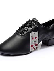 Men's Dance Shoes Leatherette Leatherette Latin / Practice Shoes Heels Chunky Heel Performance Black