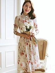 Wake Up® Women's Stand Long Sleeve Tea-length Dress-L16112
