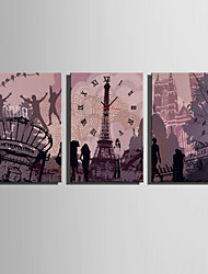 E-HOME® European Architectural Fashion Elements Clock in Canvas 3pcs