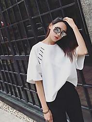 Damen Solide Einfach Lässig/Alltäglich T-shirt,Rundhalsausschnitt Sommer Kurzarm Weiß Baumwolle Mittel
