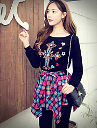Pink Doll® Women's Round Neck Long Sleeve Hoodie Print Black-X14CSW036