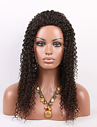 Middle Part Cheap Kinky Curly Brazilian Virgin Human Hair Lace Front Wigs Black Color