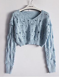 Cute Cardigan,Solid Blue / Pink / White / Black Long Sleeve Cotton Summer Medium
