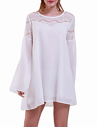 Women's Sexy Casual Lace Cute Party Plus Sizes Inelastic Long Sleeve Above Knee Dress (Chiffon/Lace)