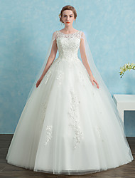 Ball Gown Wedding Dress Vintage Inspired Cathedral Train Scoop Lace Satin Tulle with Lace Sequin