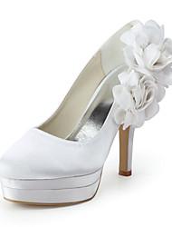 Bruiloft Schoenen-Blauw / Rood / Wit / Beige-Huwelijk / Formeel / Feesten & Uitgaan-Hoge hakken / Ronde neus-Platte schoenen-voor-Dames