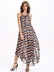 Women's Club Sexy A Line / Chiffon Dress,Striped Strap Asymmetrical Sleeveless Brown Polyester / Others Summer