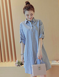 Shirt Collar Ruffle Maternity Dress,Linen Above Knee ½ Length Sleeve