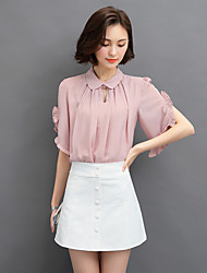 Women's Going out Sexy / Street chic Summer Blouse,Solid Shirt Collar Short Sleeve Blue / Pink / White Polyester Thin