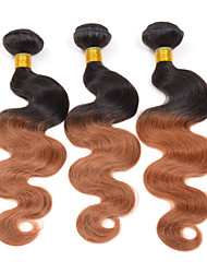 "10""-26"" 3 Bundles Ombre Body Wave Weave Hair Color 1B/30# Remy Human Hair Weave Extensions 300g"