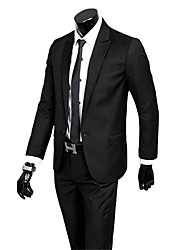 Suits Slim Fit Notch Single Breasted One-button Cotton Blend Solid 2 Pieces  Straight Flapped None