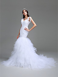 Mermaid / Trumpet V-neck Cathedral Train Tulle Wedding Dress with Beading by LAN TING BRIDE®