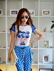 Rosa Doll® Damen Rundhalsausschnitt Kurze Ärmel T-Shirt Weiß-X15BTS081