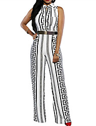 Women's  Print Gold Belted Jumpsuit