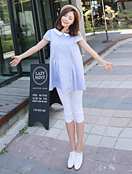Maternity Shirt Collar Ruched Shirt,Cotton Short Sleeve