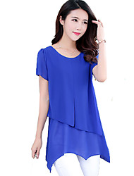 Mulheres Blusa Happy-Hour Plus Sizes / Simples / Moda de Rua Verão,Sólido Azul / Vermelho / Branco Poliéster Decote Redondo Manga Curta