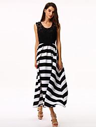 Women's Striped Black/White Dress,Maxi Round Neck Sleeveless