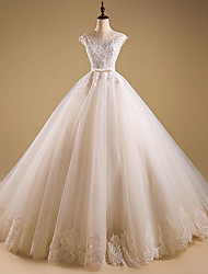 Ball Gown Wedding Dress Vintage Inspired Sweep / Brush Train Jewel Organza with Appliques Beading Ruffle
