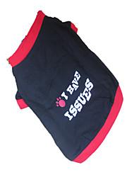 Cães Camiseta Vermelho Roupas para Cães Verão Carta e Número / Geométrico
