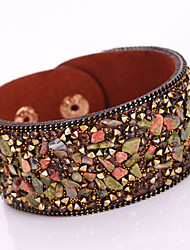 New Fashion Charm Women Magnet Alloy Buckle Leather Shiny Gravel Multilayer Magnetic Width Bangle Bracelet