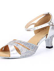 Women's Sparkling Glitter Ankle Stripe Latin Dance Shoes Sandals(More Colors)