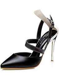 Для женщин Обувь на каблуках Полиуретан Лето Повседневные На шпильке Черный Желтый Розовый 7 - 9,5 см