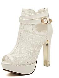 Damen Sandalen Sommer Normal Blockabsatz Weiß Schwarz 10 - 12 cm