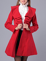 Women's Casual/Daily Simple Coat,Solid Ruff Collar Long Sleeve Fall / Winter Pink / Red / White / Black Cotton Medium