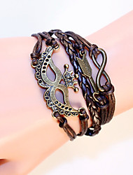 Multilayer Braided Bracelets Antique Alloy Anchor Infinity Love Charm Woven Leather Bracelet