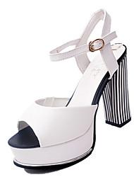 Damen-Sandalen-Lässig-PU-Blockabsatz-Sandalen-Schwarz / Weiß