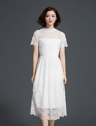 Women's Sexy Solid Lace Dress,Turtleneck Midi Polyester