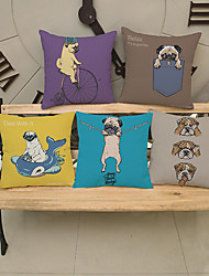 Decorative Pillow Case Cartoon Pug Pattern