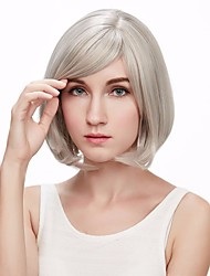 Silver Grey Short Wig With Bangs Fashion Heat Resistant Synthetic Gray Hair Bob Wigs
