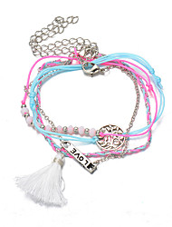 Pink-Blue Multilayer Fabric Silver Chain Love/Life Tree Wrap Tissue Pendant Chain Strand Charm Bracelet Jewelry